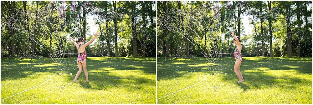 Capturing candid summer fun. Sprinkler shots by Becky Hoschek Photography and Branding Design.