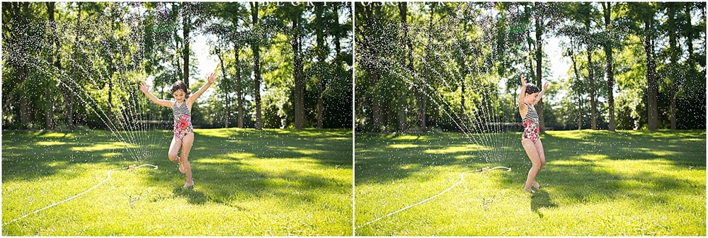 Photographing playful fun in the sprinkler. Capturing water droplets and summer fun by Becky Hoschek.