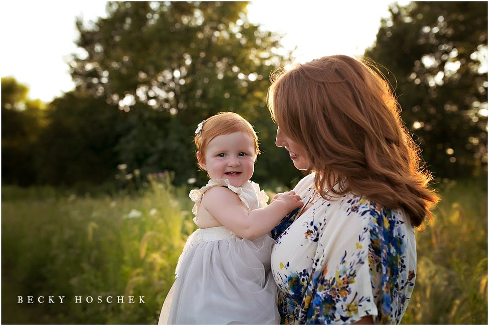 Bloomington IL family photographer baby sunset session