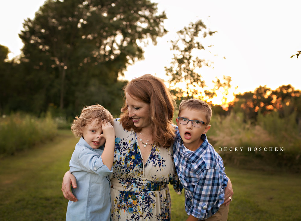 Bloomington IL family photographer children boys brother sunset session