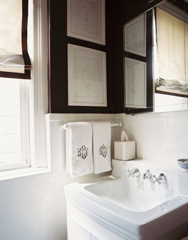 all white bathroom with black accents