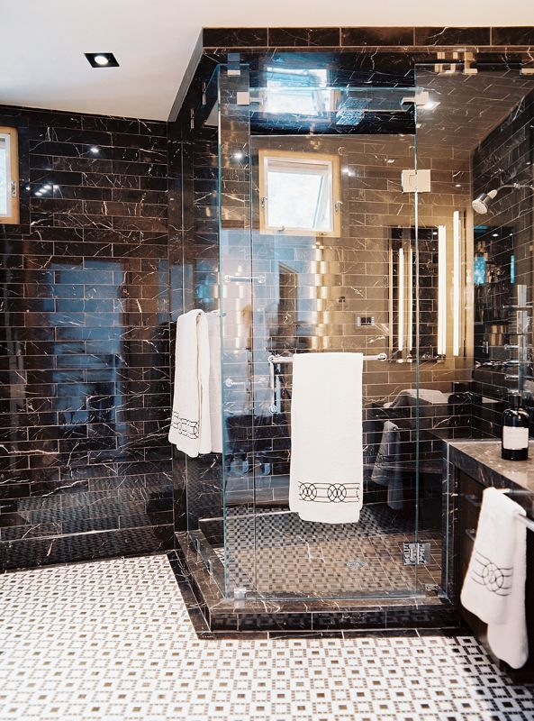 black tile glass shower