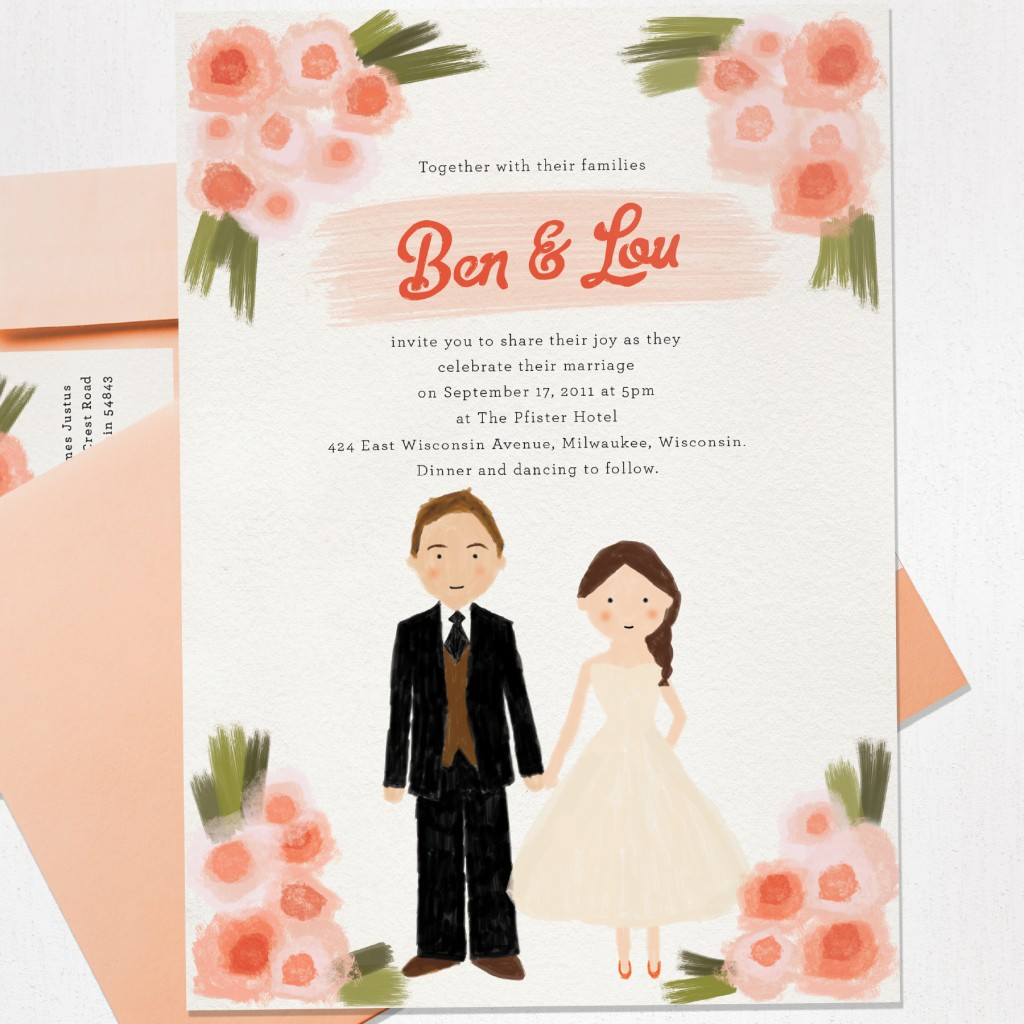 hand drawn wedding invites, custom invites, watercolor invites