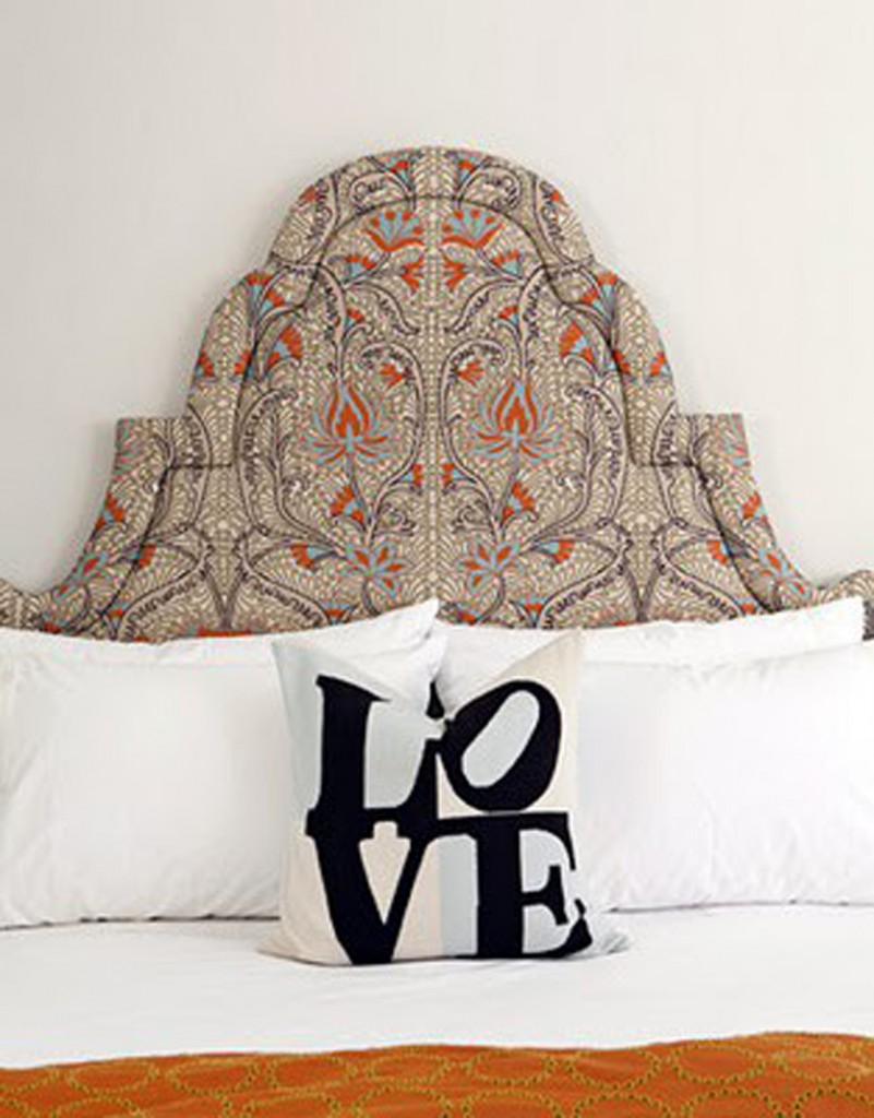 feminine upholstered headboard, LOVE throw pillow