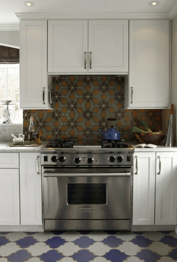 vintage tile mosaic above stove, kitchen decor