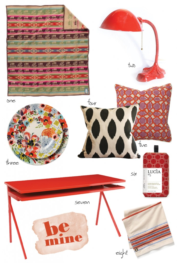 red desk, floral dinnerware, girly pillows, affordable decorating