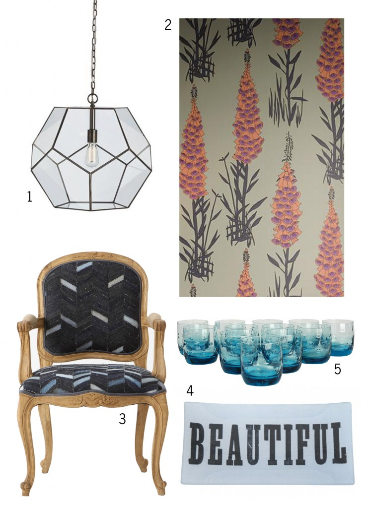 glass pendant, foxglove wallpaper, ornate armchair, blue lowballs, beautiful tray, best interior design blog