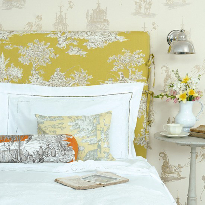 yellow bedroom, yellow headboard, yellow bedding, top interior design blog