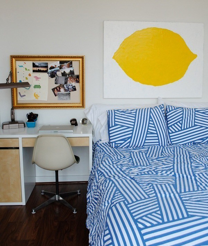 yellow and blue bedroom, affordable art, best decorating blog