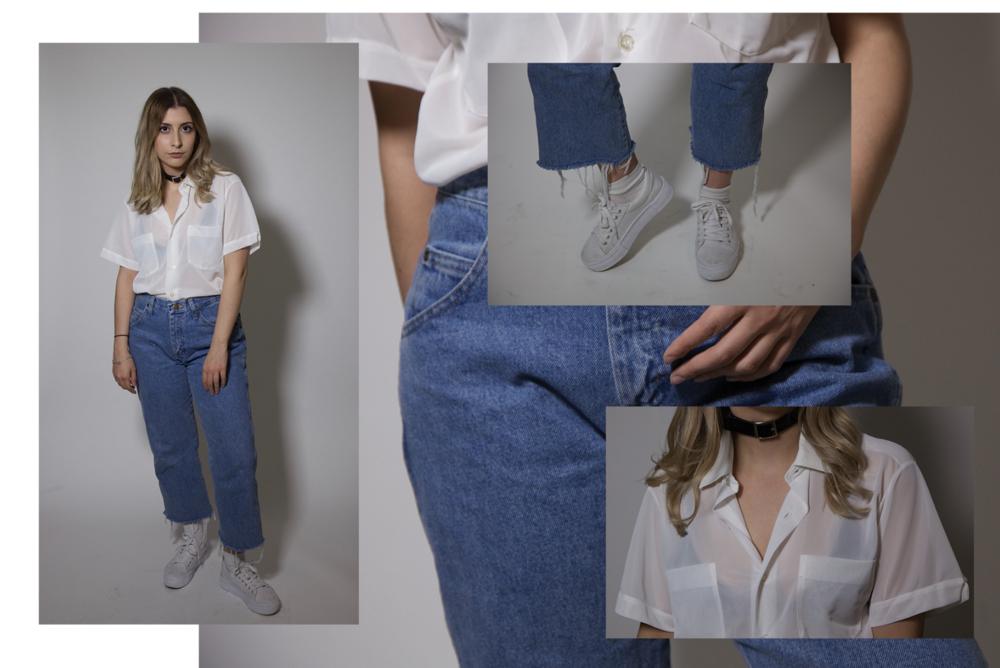 Shirt, thrifted. Jeans, Walmart (mens). Bralette, Aritzia. Shoes, H&M. Choker, Bottle Blonde Clothing.