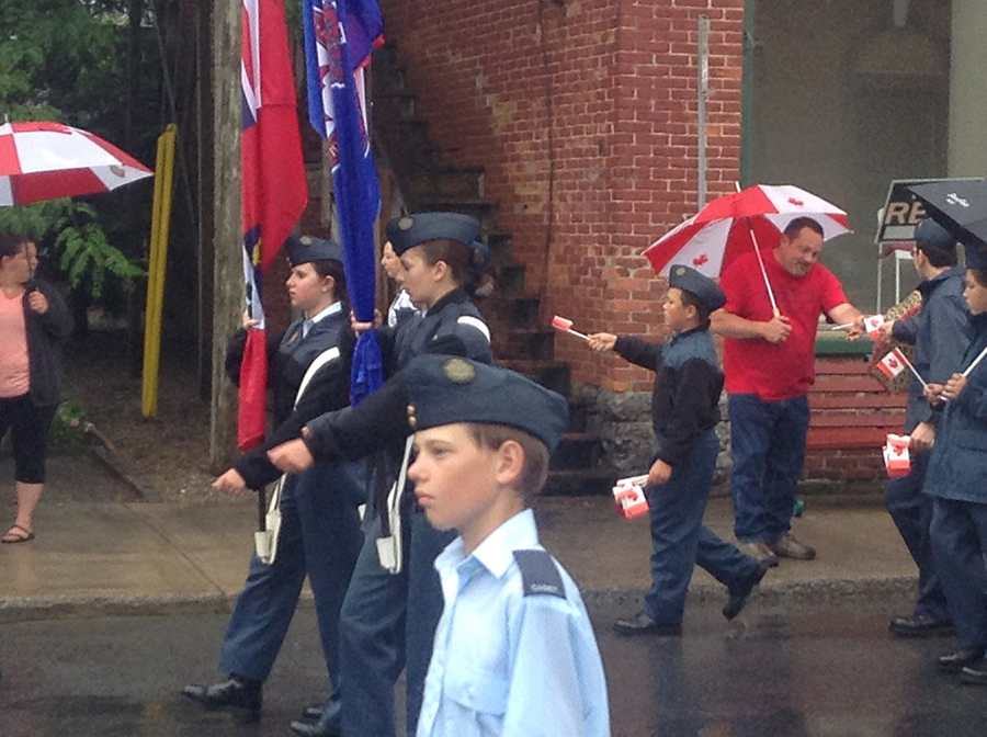 1 July 2015: Our squadron participated in a rainy Canada Day Parade with executives of the legion.