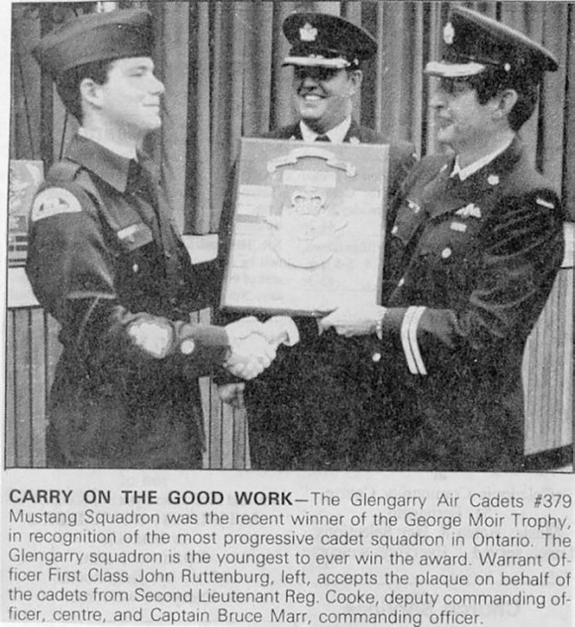 1986: 379 squadron won the George Moir Trophy for most progressive cadet squadron in Ontario.