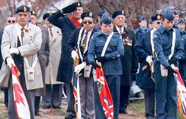 11 November 1998: Cadet James Cockerell and Anne Mary Fink part of the Legion Colour party during the Remembrance Day Ceremony.
