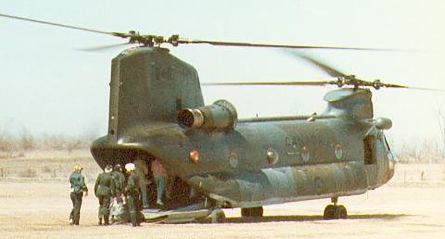 1986: The squadron got to go on a Chinook helicopter flight.