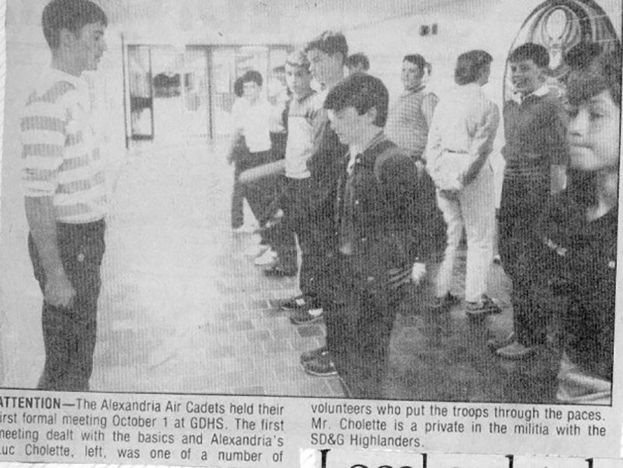 October 1984: Newspaper article on the FIRST cadet night of 379 squadron.
