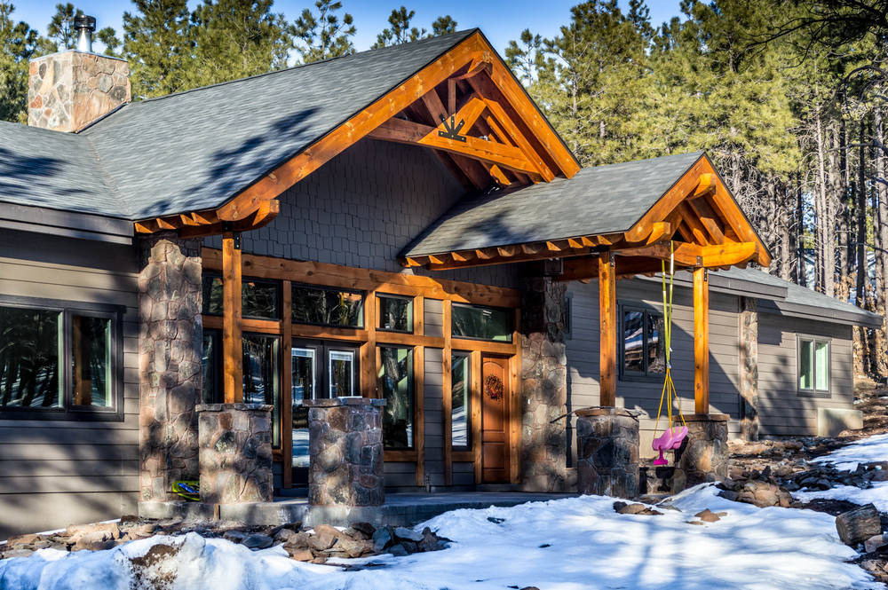 Entry way of a custom residential home near Flagstaff, Arizona.