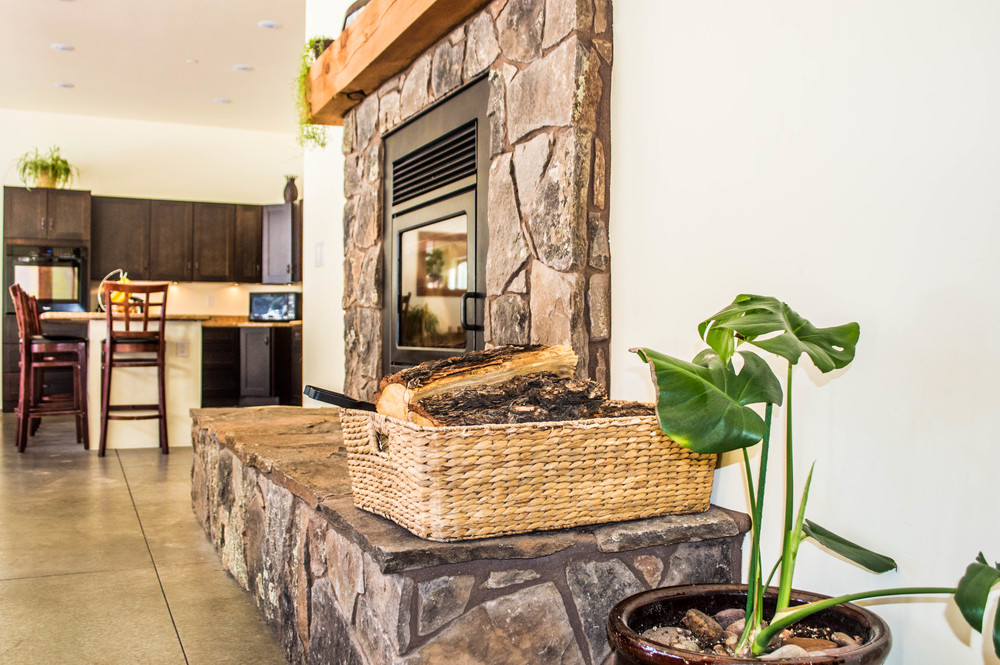 Custom fireplace in a residential home near Flagstaff, Arizona.