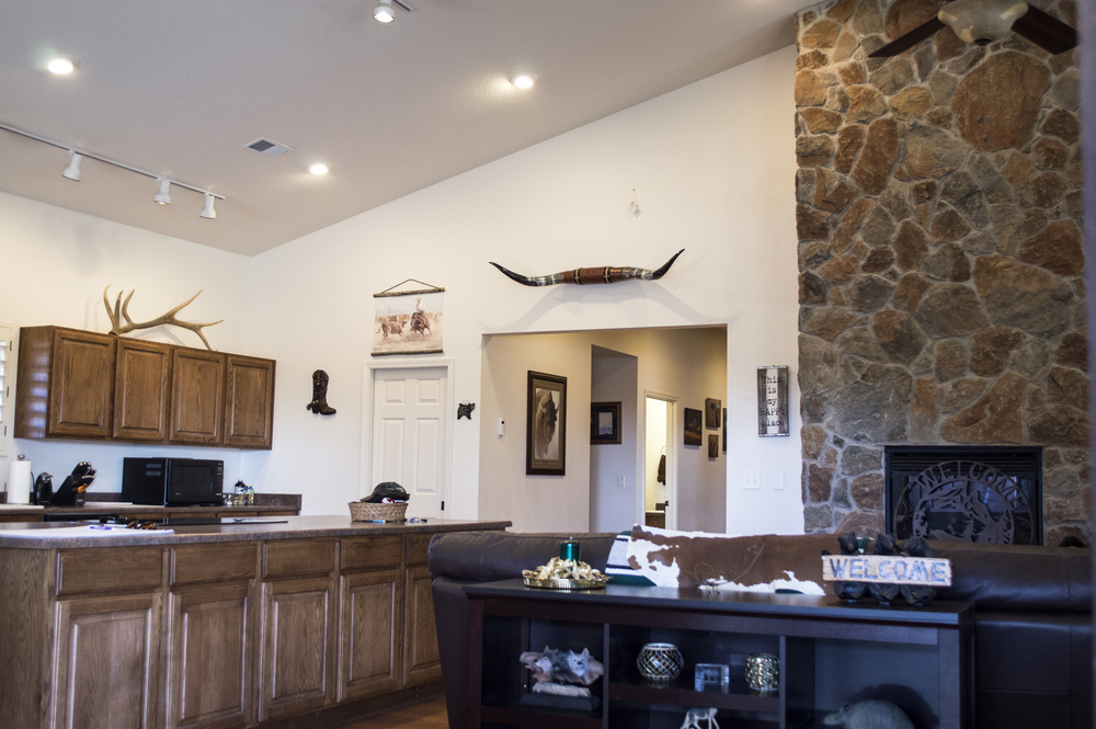 Dining room of a residential custom home near Flagstaff, Arizona.
