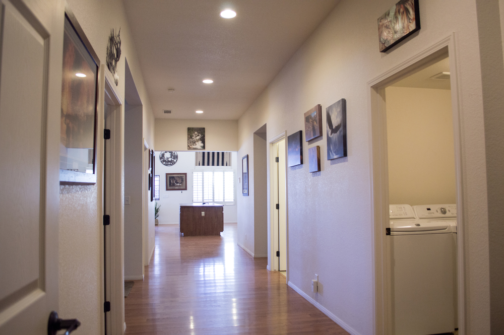 Hallway of a residential custom home near Flagstaff, Arizona.
