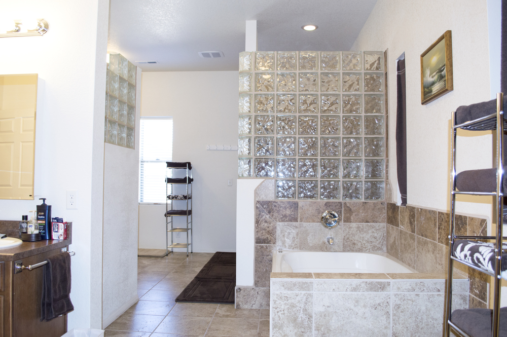 Bathroom of a residential custom home near Flagstaff, Arizona.