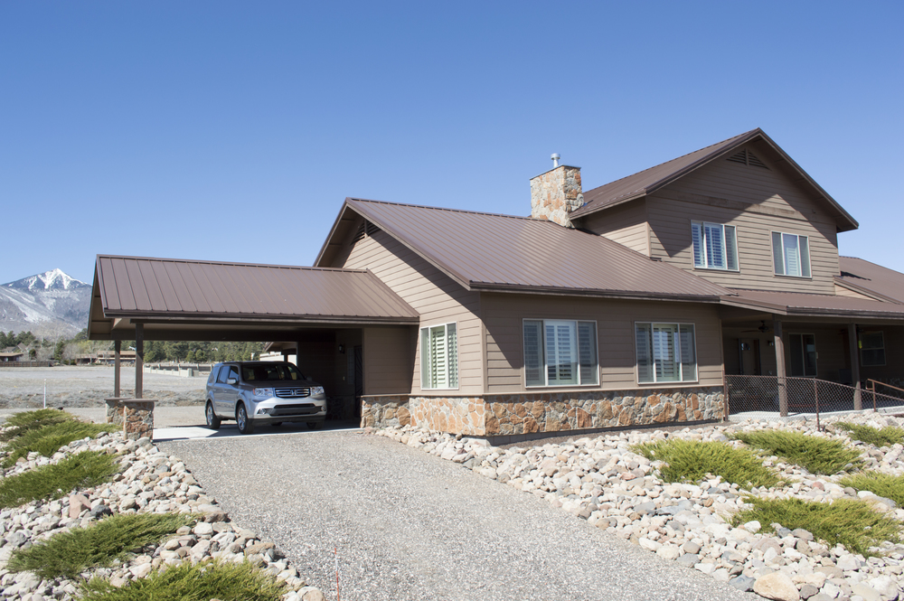 Exterior of a residential custom home near Flagstaff, Arizona.