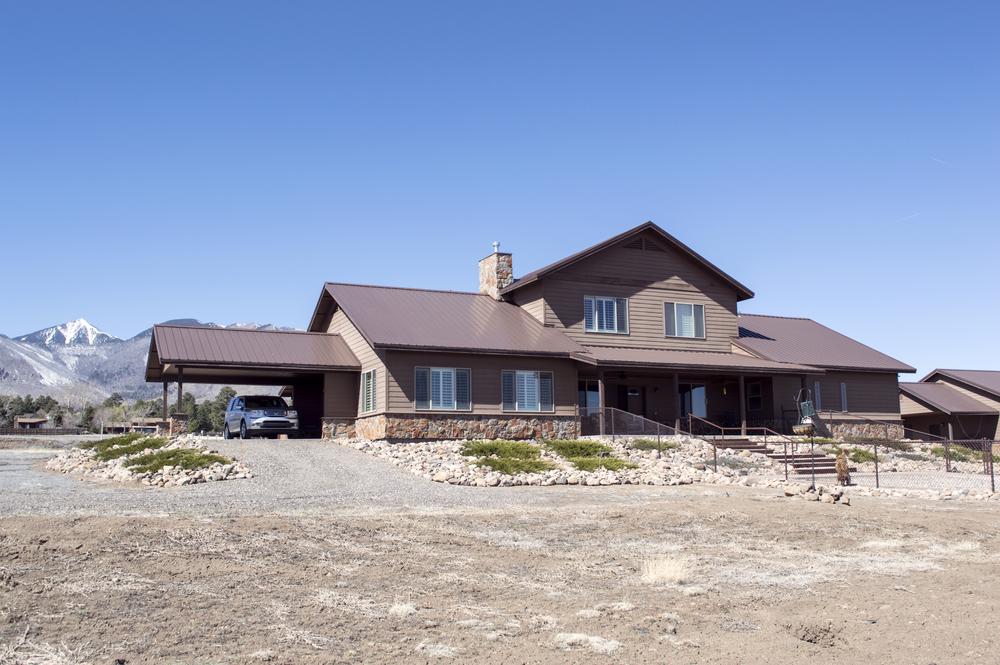 Exterior of a residential custom home near Flagstaff, Arizona.