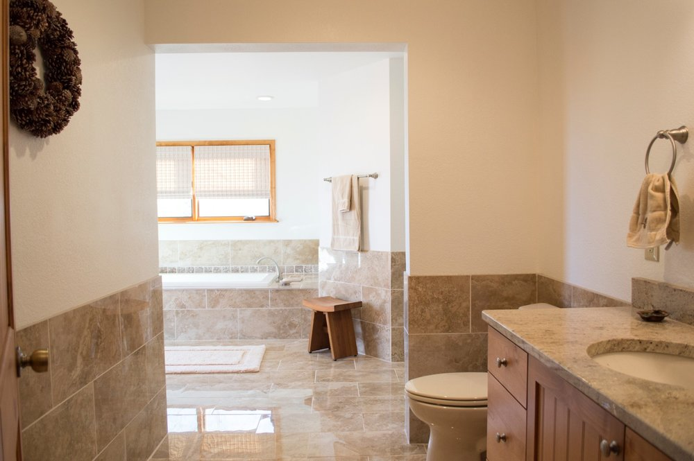 Completed renovated bathroom in a residential home.