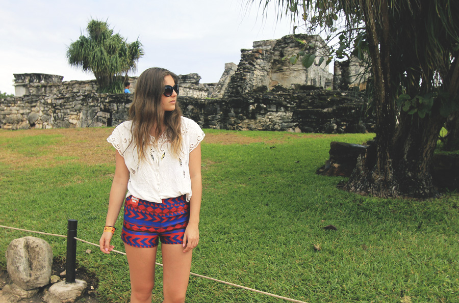 tulum ruins mayan mexico forever 21 shorts vintage top red white blue