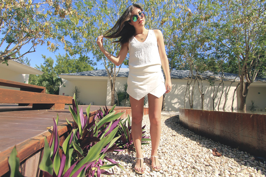 zara wrap white skort mirrored sunglasses textured tank outfit