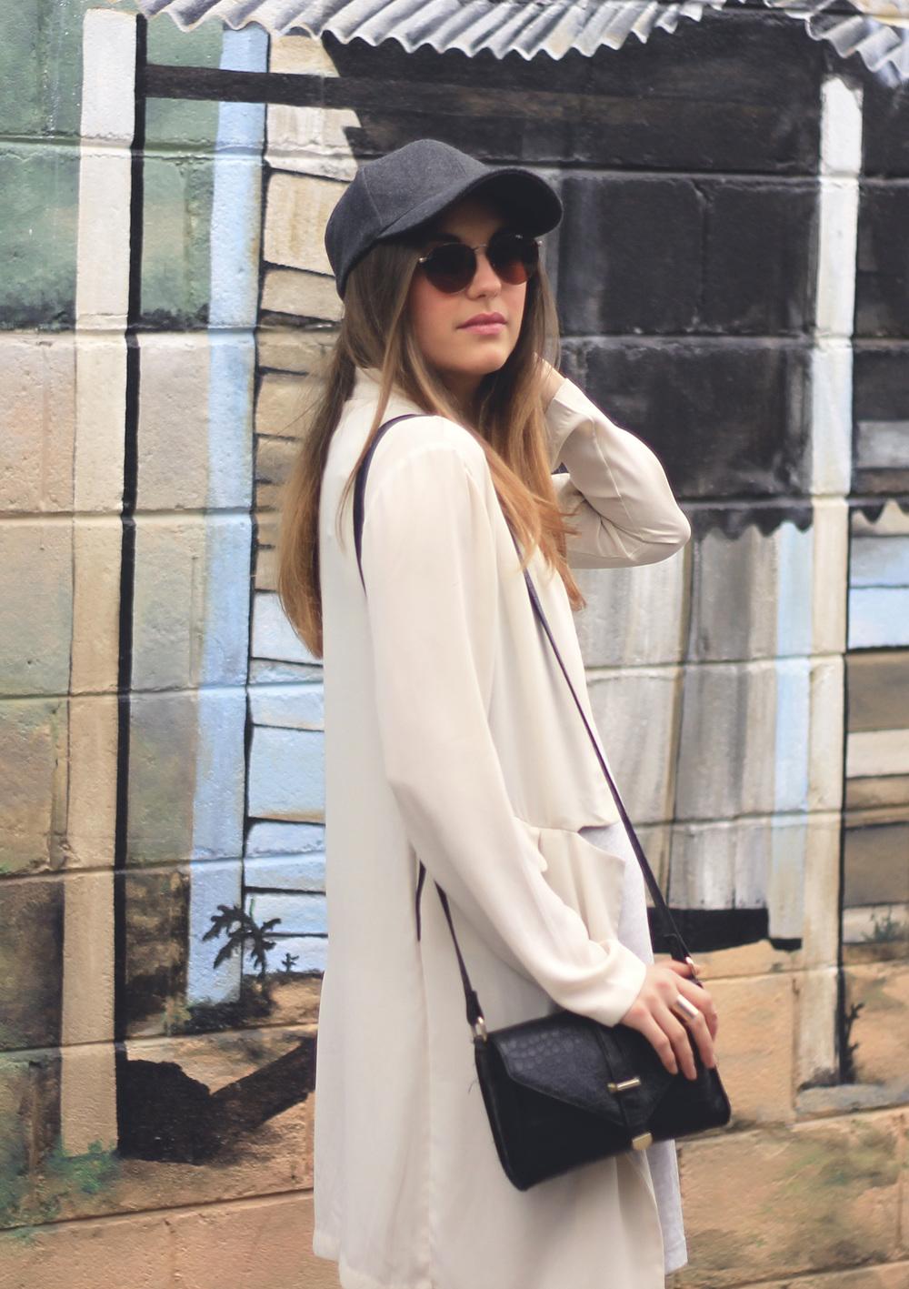 black pebbled box bag forever 21 cream kimono wool cap sunglasses