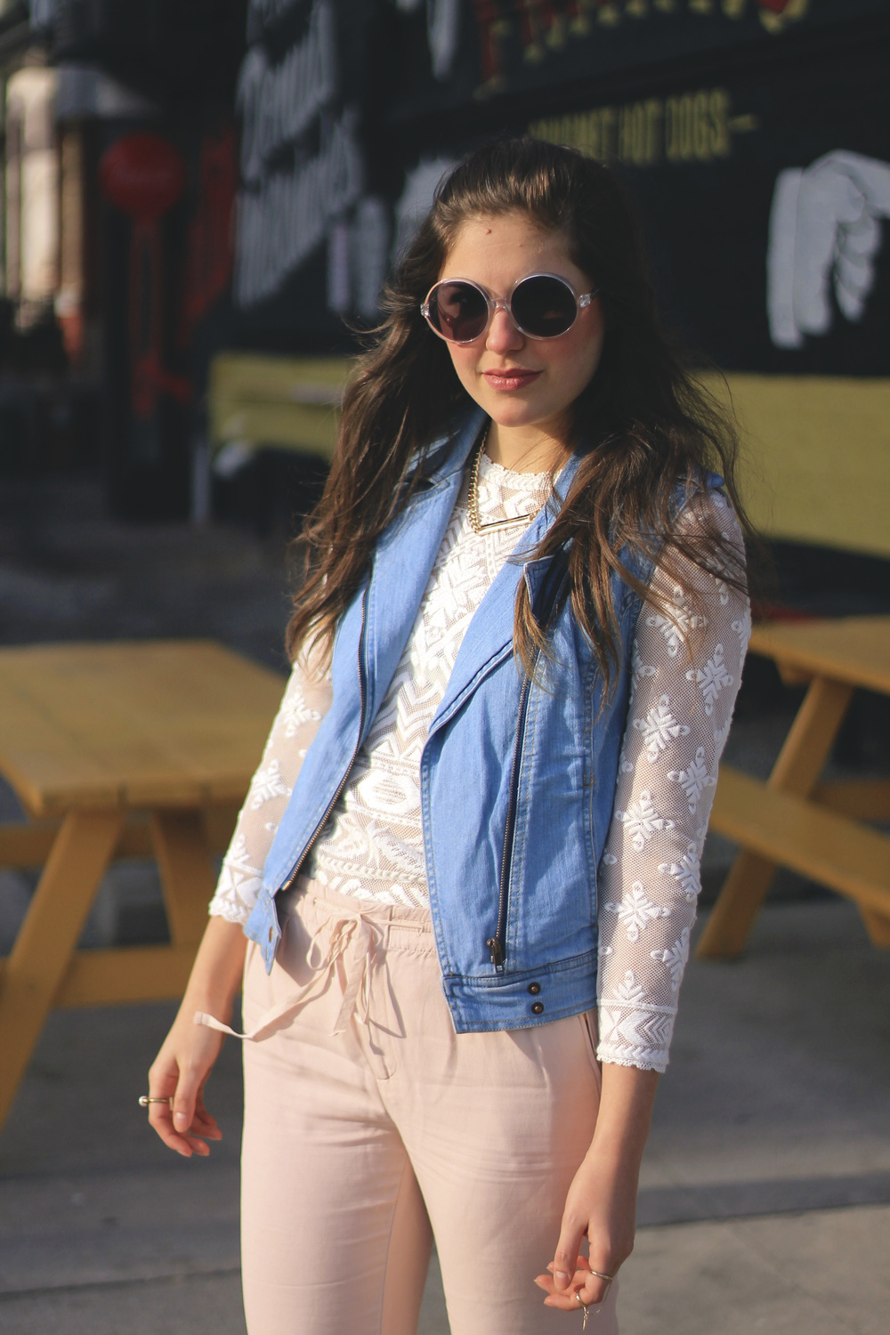 white lace isabel marant top blue denim moto vest