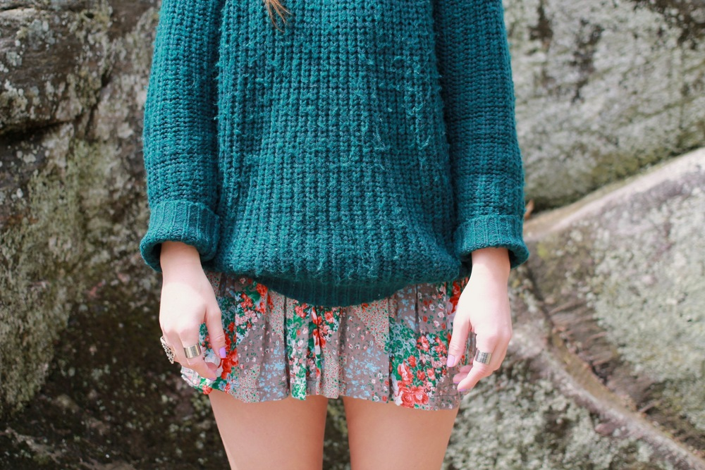 chunky knit wool sweater floral skirt dress