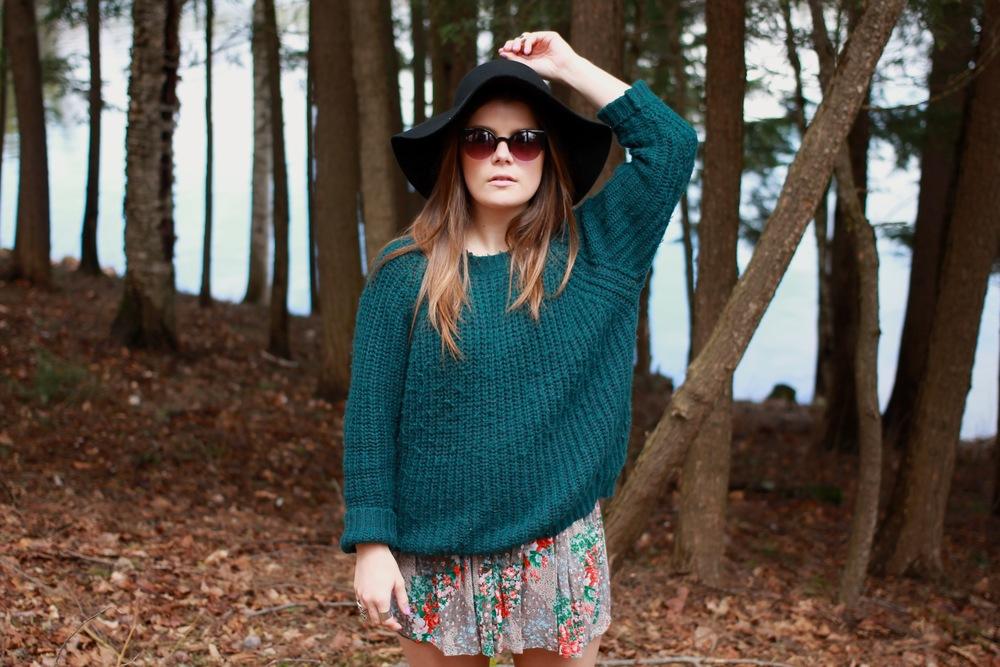 black wool floppy hat cateye sunglasses