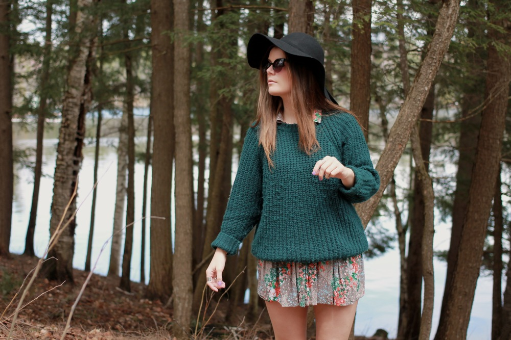 cateye forever21 sunglasses floppy hat floral skirt