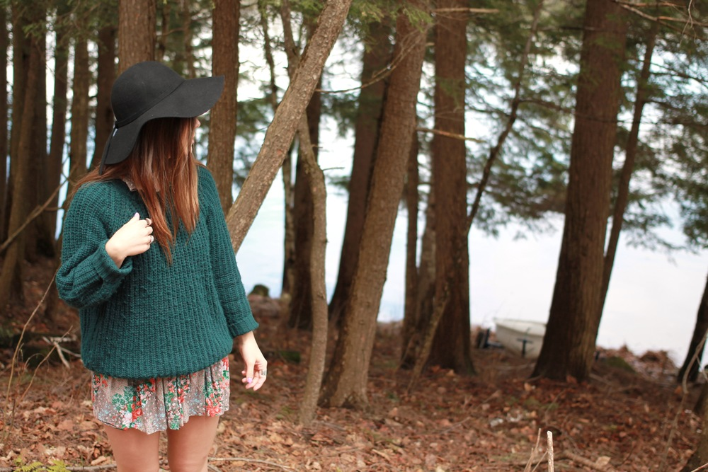floral skirt dress chunky knit sweater forever21