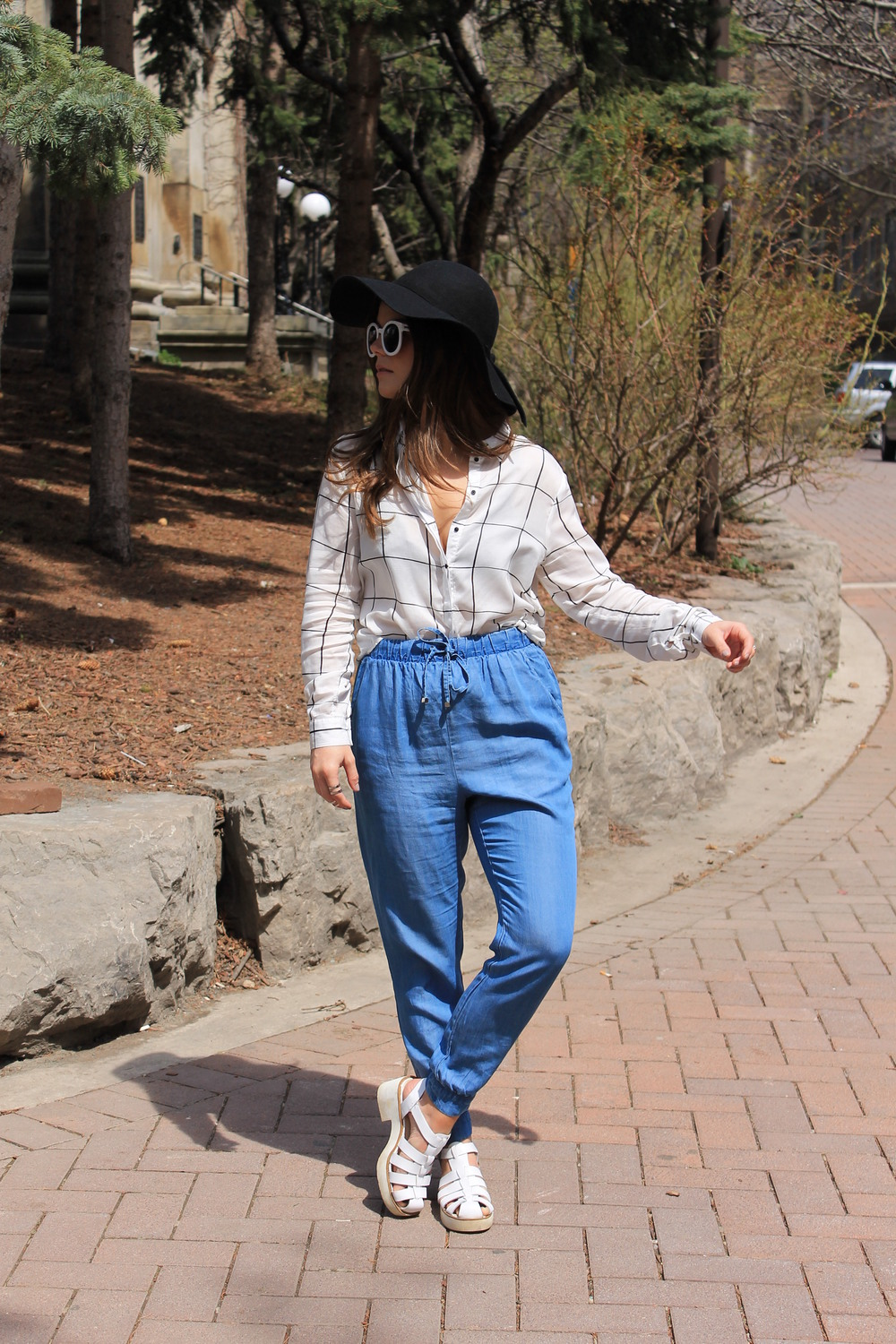 Forever21 Chambray Jogging Drawstring Pants