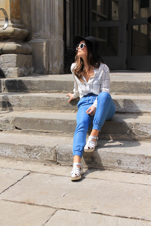 H&M Patterned Blouse Chambray Drawstring Pants