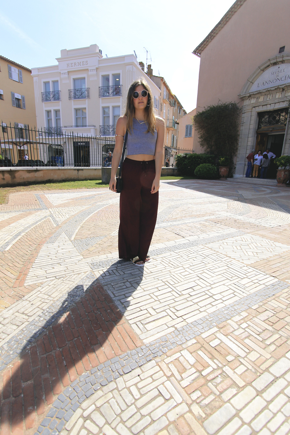 st tropez hermes style street crop top palazzo pants
