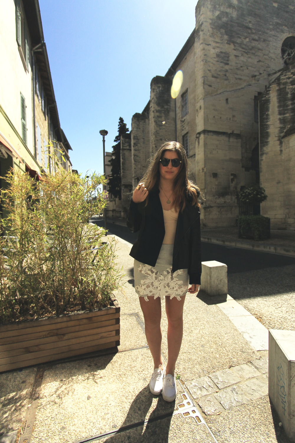 vans white zara grey lace skirt leather jacket street style outfit