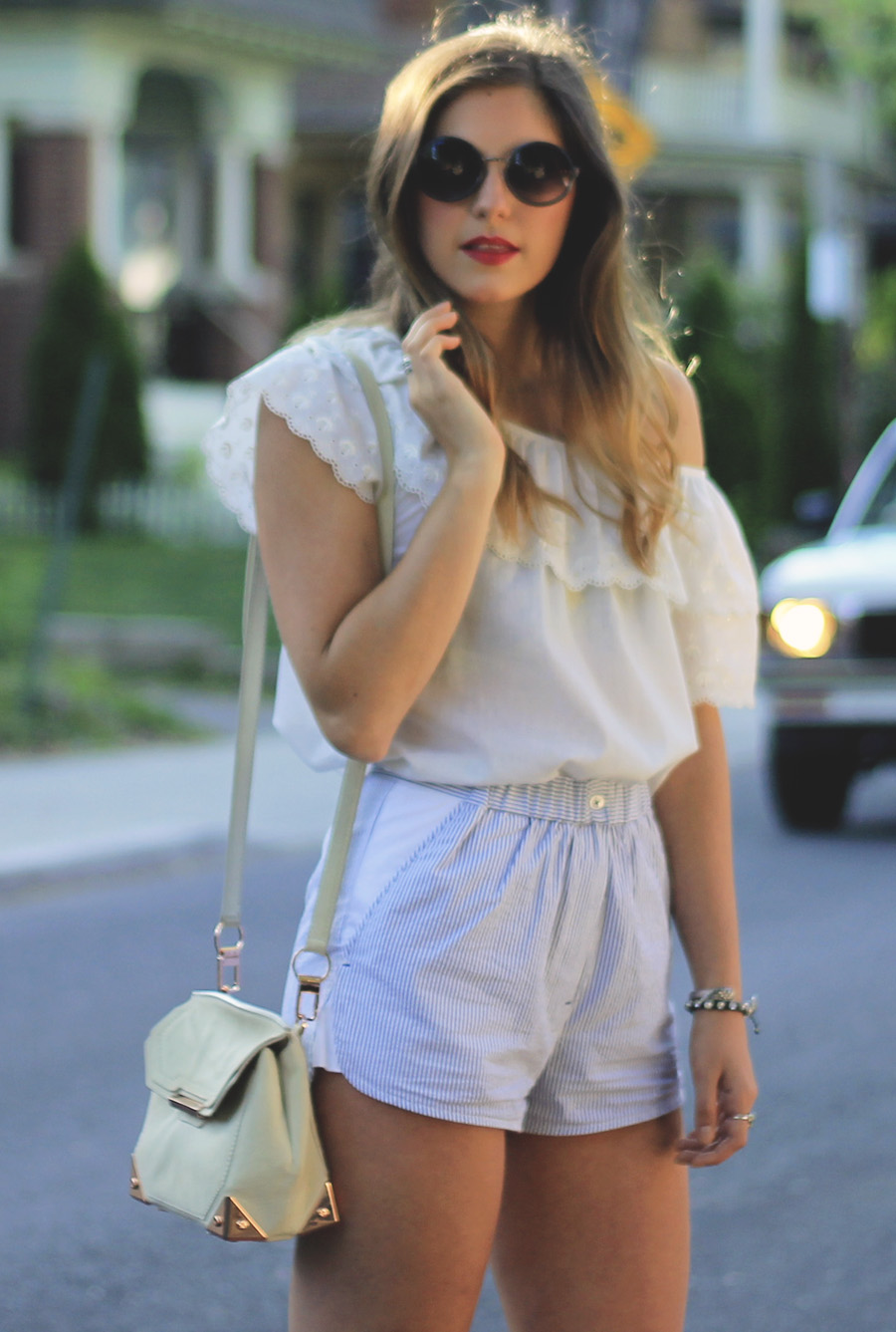 blue and white outfit style h&m vintage alexander wang
