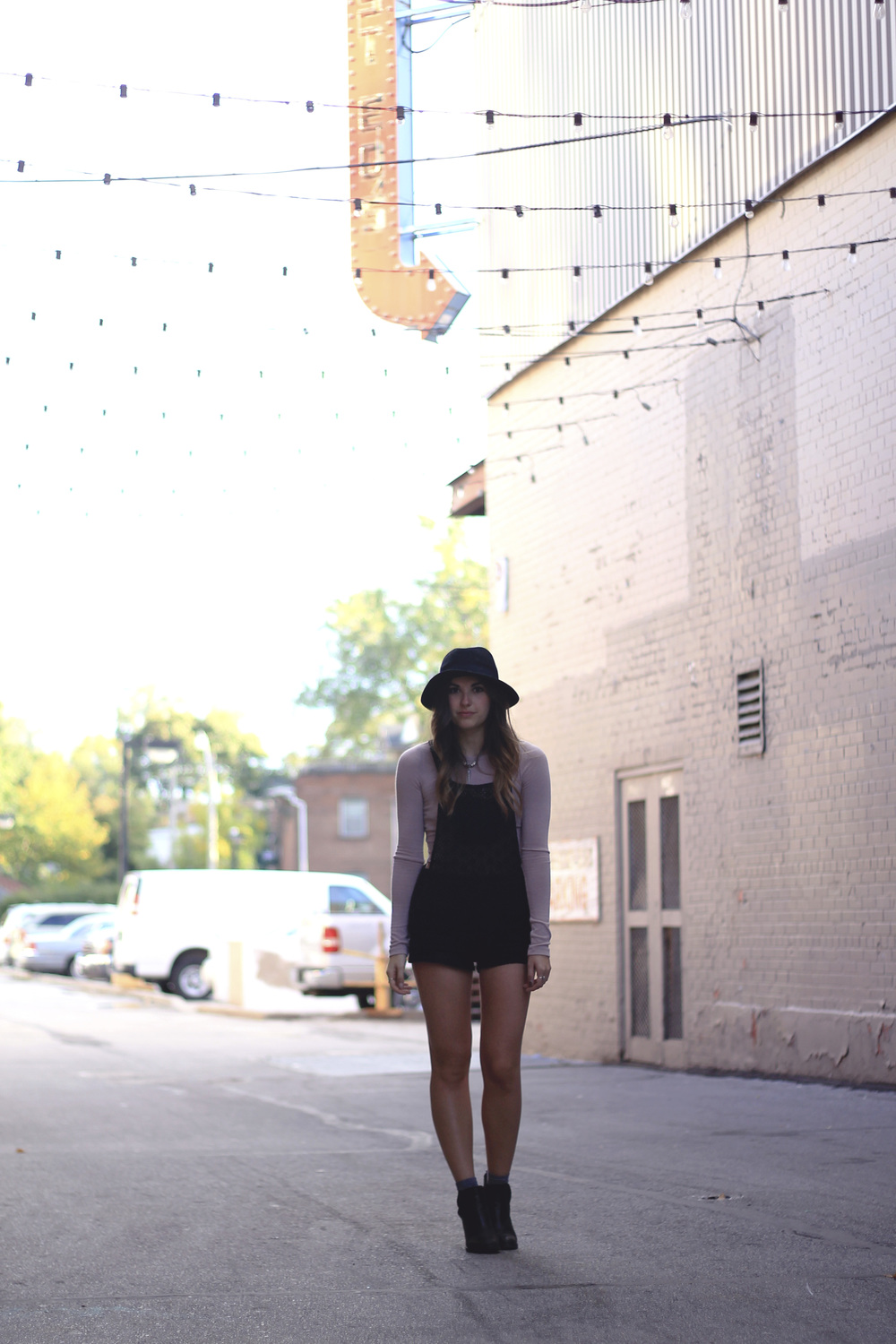 crop top overalls lace pink black hat toronto fall style outfit