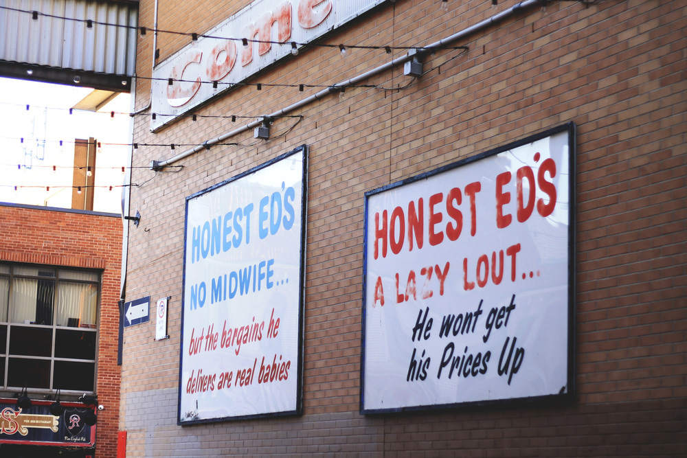 honest ed's alley signs toronto annex bathurst bloor