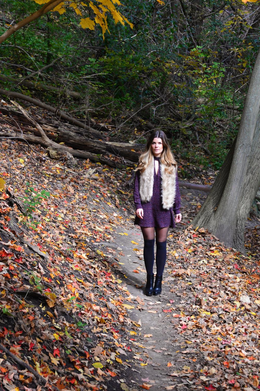purple patterned mini dress faux fur scarf