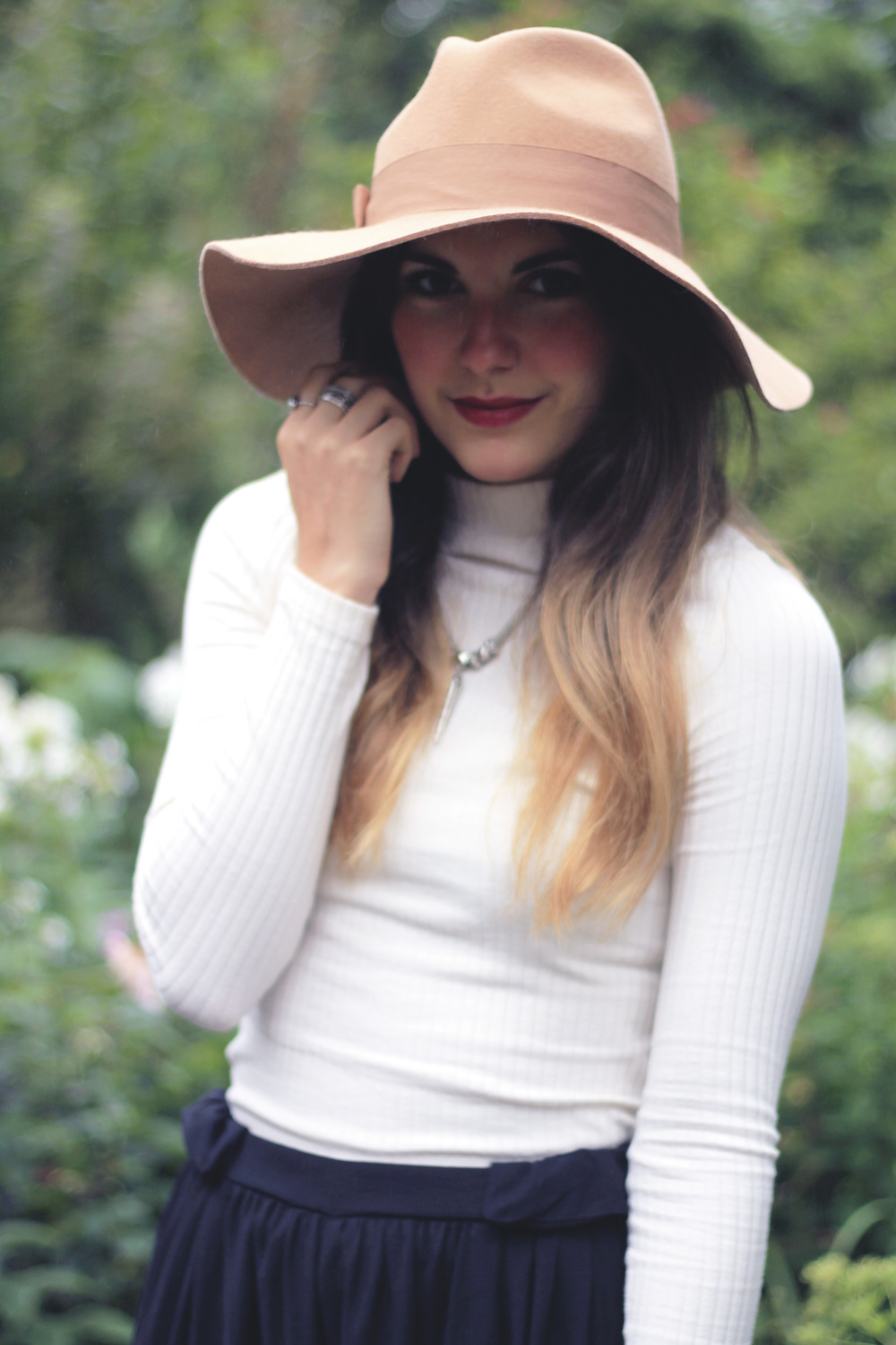 forever 21 ribbed cream mock neck, spike necklace, felt fedora