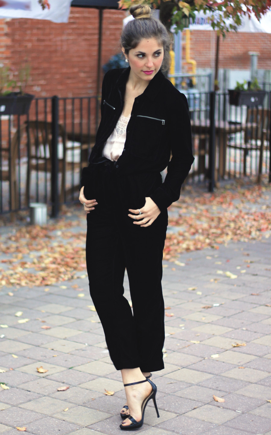 h&m black velvet jumpsuit with zippers silver fall fashion