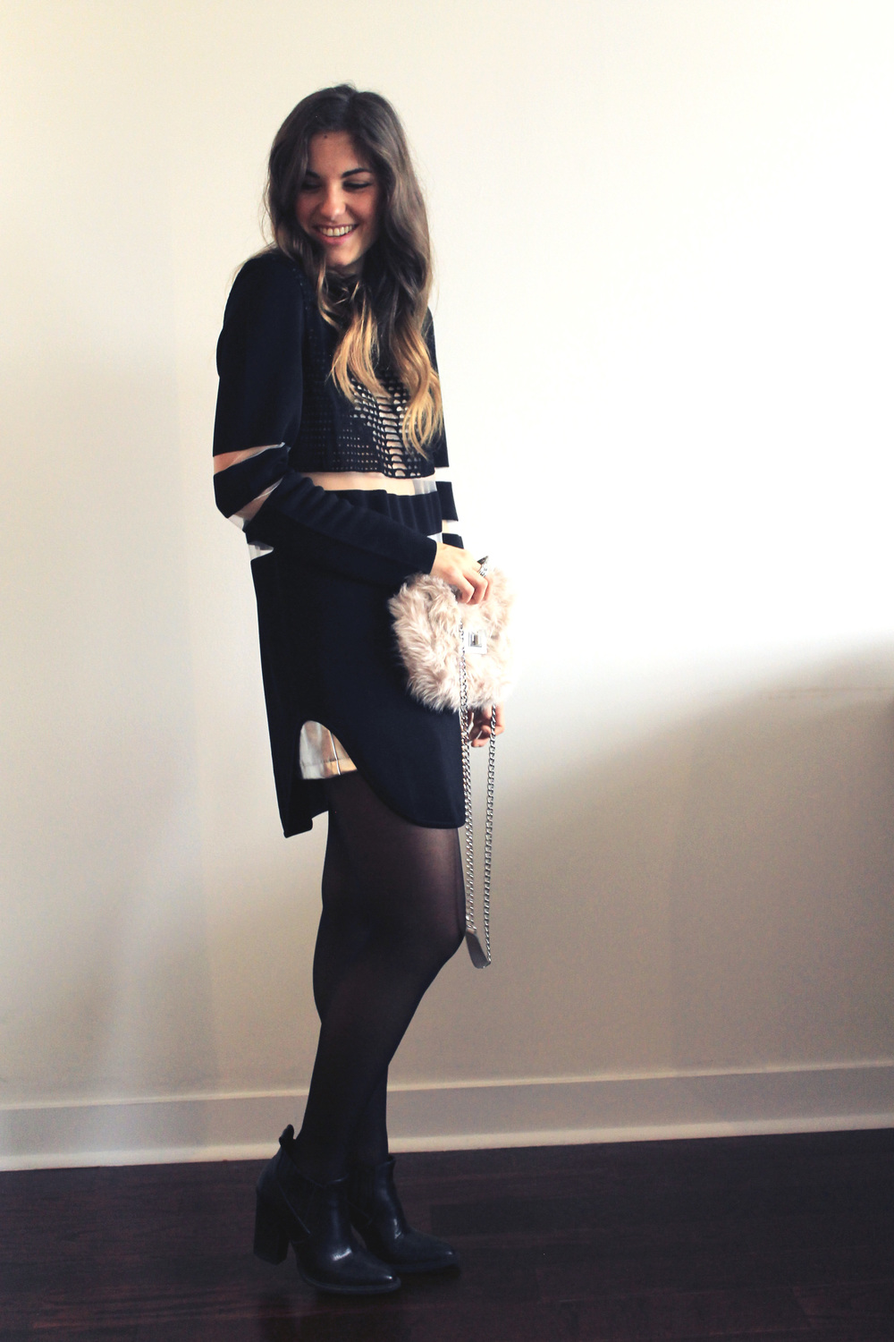 forever 21 h&m fur sweater dress chelsea boots black