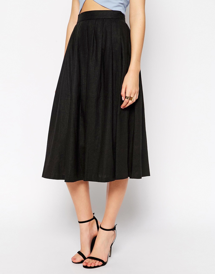 asos pleated midi black skirt