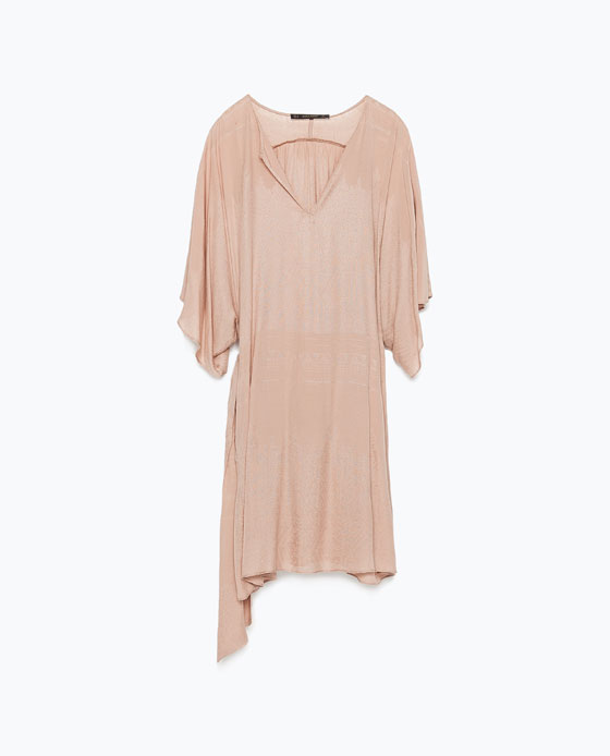 jacquard viscose dress zara nude