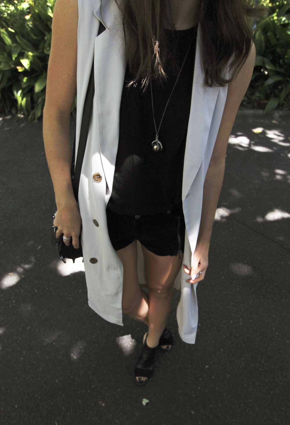suede-hm-black-zipper-shorts-top-forever-21-cream-trench-double-breasted-vest-outfit-style-street-melbourne.jpg