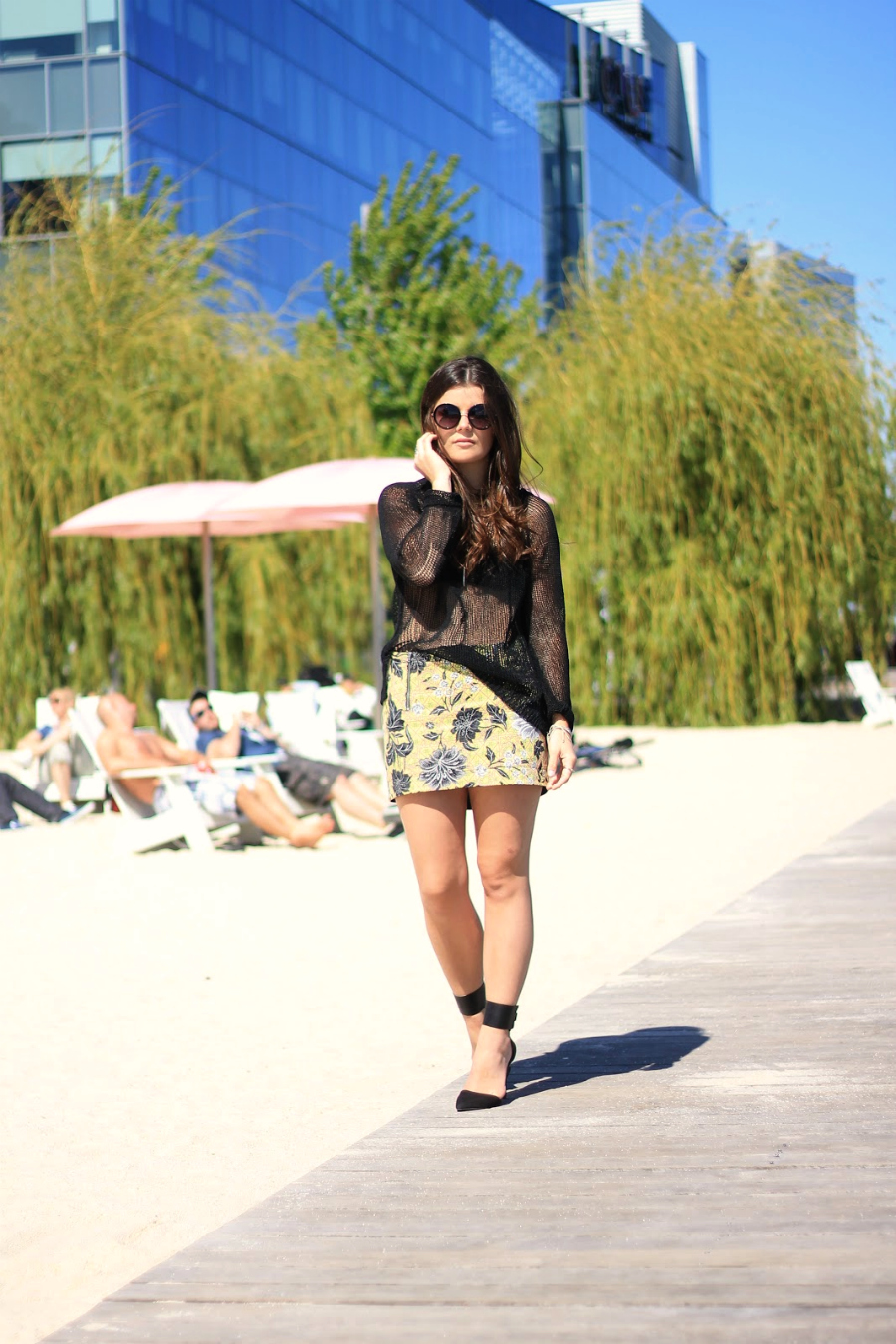 black sweater floral skirt